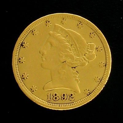 1912: 1892 $5 US Coronet Type Gold  Coin-Investment Pot