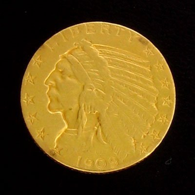 1926: 1909 $5 Indian Head Gold Coin-Investment Potentia