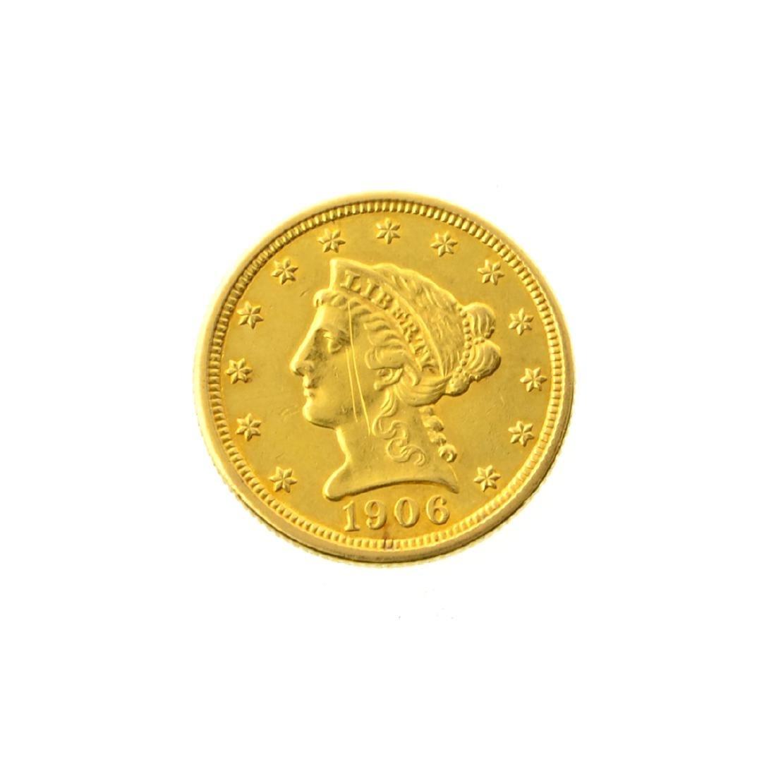 1906 $2 50 U S  Liberty Head Gold Coin