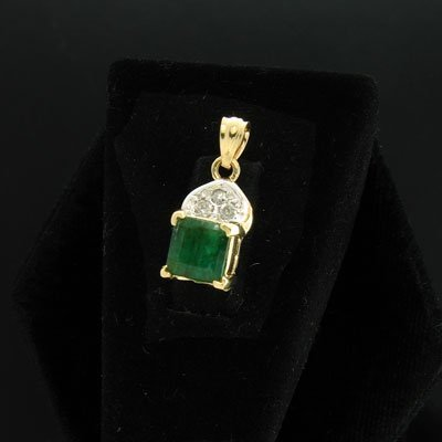 2262: APP: $0.9k 14 kt. Gold, 0.81CT Emerald and 0.21CT