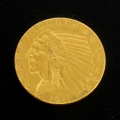 2203: 1911 $5 Indian Head Gold Coin - Potential Investm