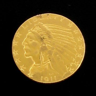 2243: 1911 $5 Indian Head Gold Coin - Potential Investm
