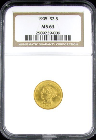 2905: 1905 $2.5 US CoronetType Gold Coin - Investment P