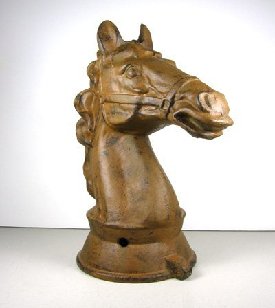2907: Stallion Bust - Cast Iron-Rust Color- Collectable