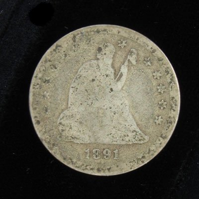 2917: 1891 Seated Liberty Quarter Coin - Investment Pot