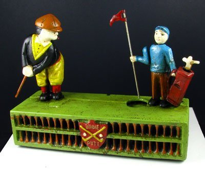 2910: Golfer Bank w/Caddy -Cast Iron - Collectable