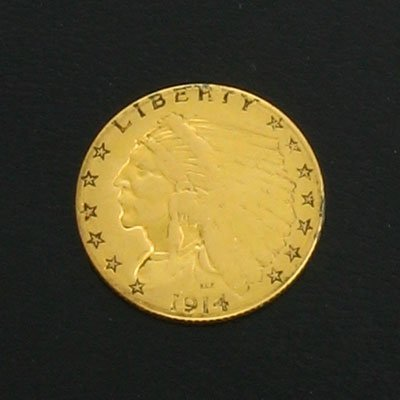 5306: 1914-D $2.5 Indian Head Gold Coin, Investment Pot