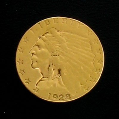 5318: 1928 $2.5 US Indian Head Type Gold Coin, Investme