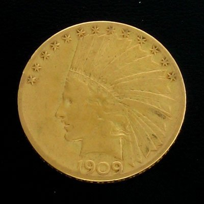 5342: 1909-S $10 US Indian Head Type Gold Coin, Investm