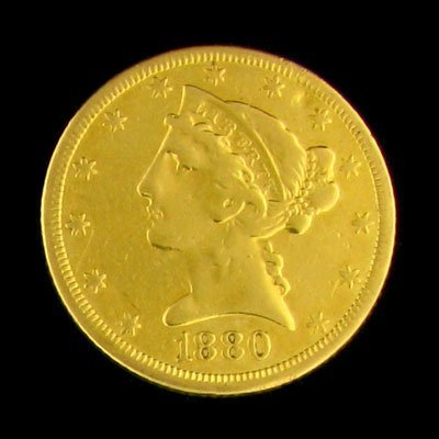 232: 1880 $5 US Coronet Type Gold Coin - Potential Inve