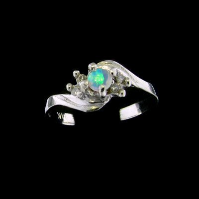 242: 14 kt. White Gold, 0.12CT Opal and 0.06CT Diamond