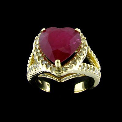 1328: APP: $17.6k 14 kt. Gold, 3.99CT Ruby and 0.73CT D
