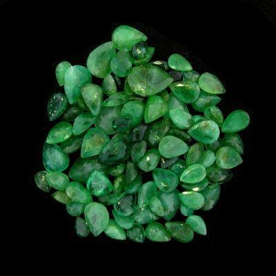 2323: APP: $4k 50.26CT Faceted Pear Cut Emerald Parcel
