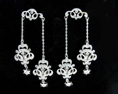 2331: APP: $7k 14 kt. White Gold, 1.44CT Diamond Earrin