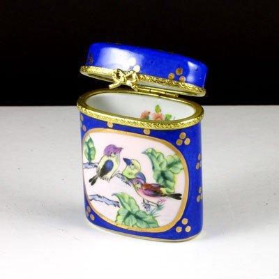 2335: Blue Oval Hinged Ceramic Box - Great Gift Idea