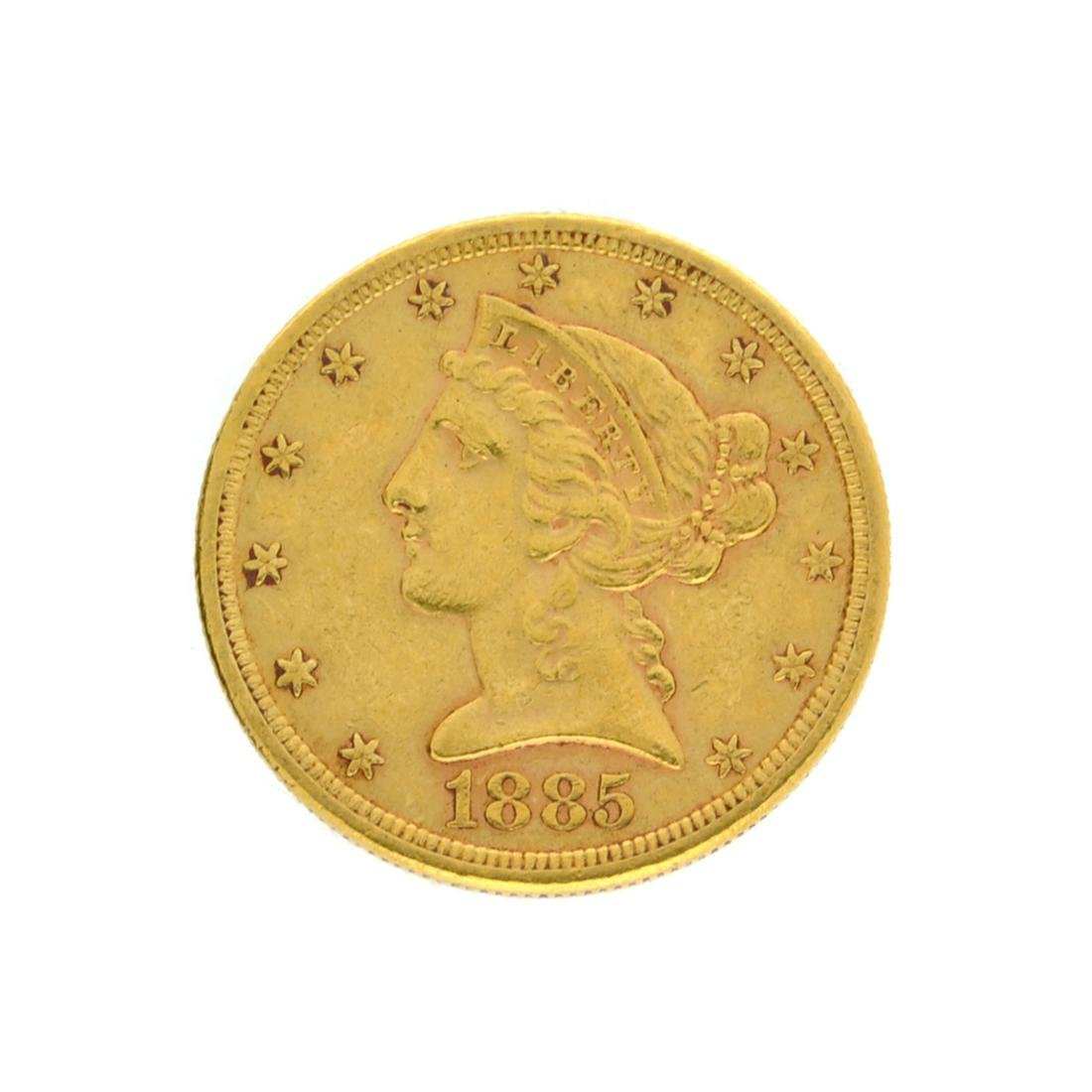 Extremely Rare 1885-S $5 U.S. Liberty Head Gold Coin