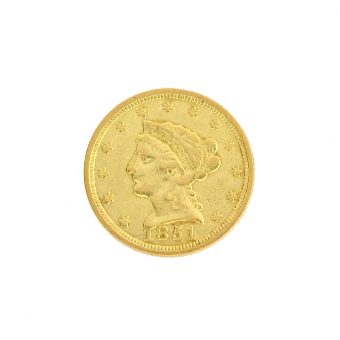 Extremely Rare 1851 $2.50 U.S. Liberty Head Gold Coin -