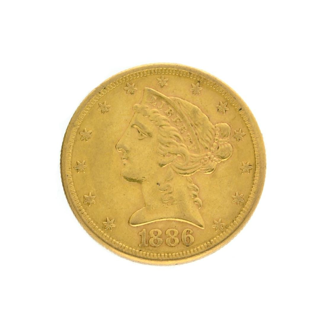 Extremely Rare 1886-S $5 U.S. Liberty Head Gold Coin
