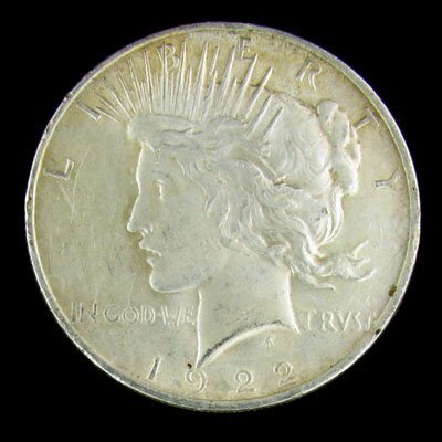 326: 1922 Peace Type Silver Dollar Coin-Investment Pote