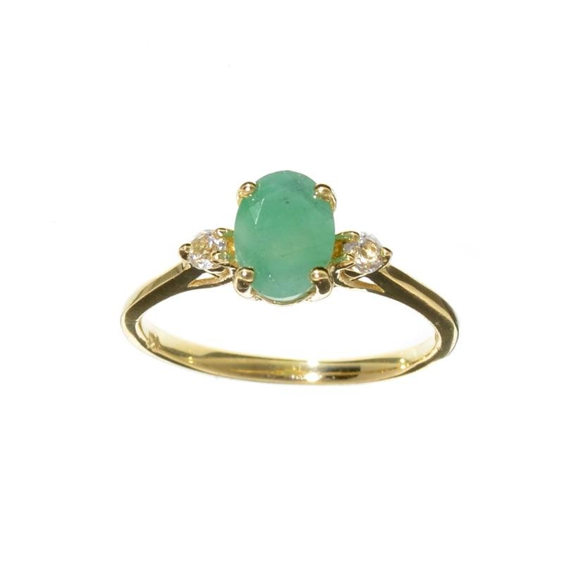APP: 1k Fine Jewelry 14 KT Gold, 1.27CT Green Emerald