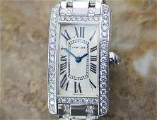 Ladies Cartier Tank Americaine 18K Gold W Diamonds