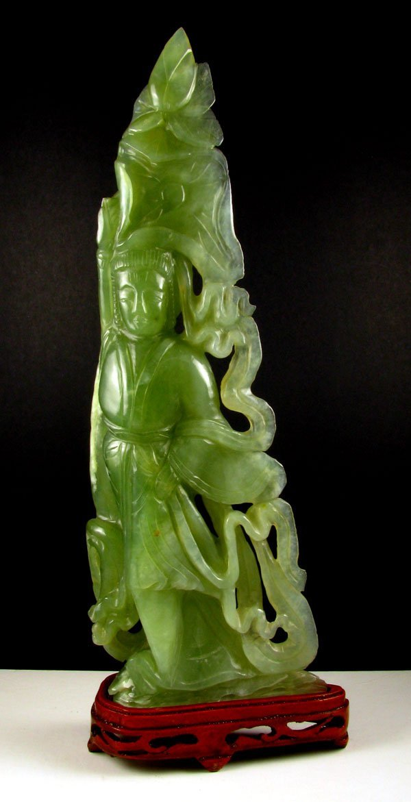 2706: Rare Jade Hand Carved Translucent Green