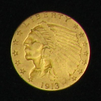 2736: 1913 $2.5 US Indian Head Gold Coin, Investment Po