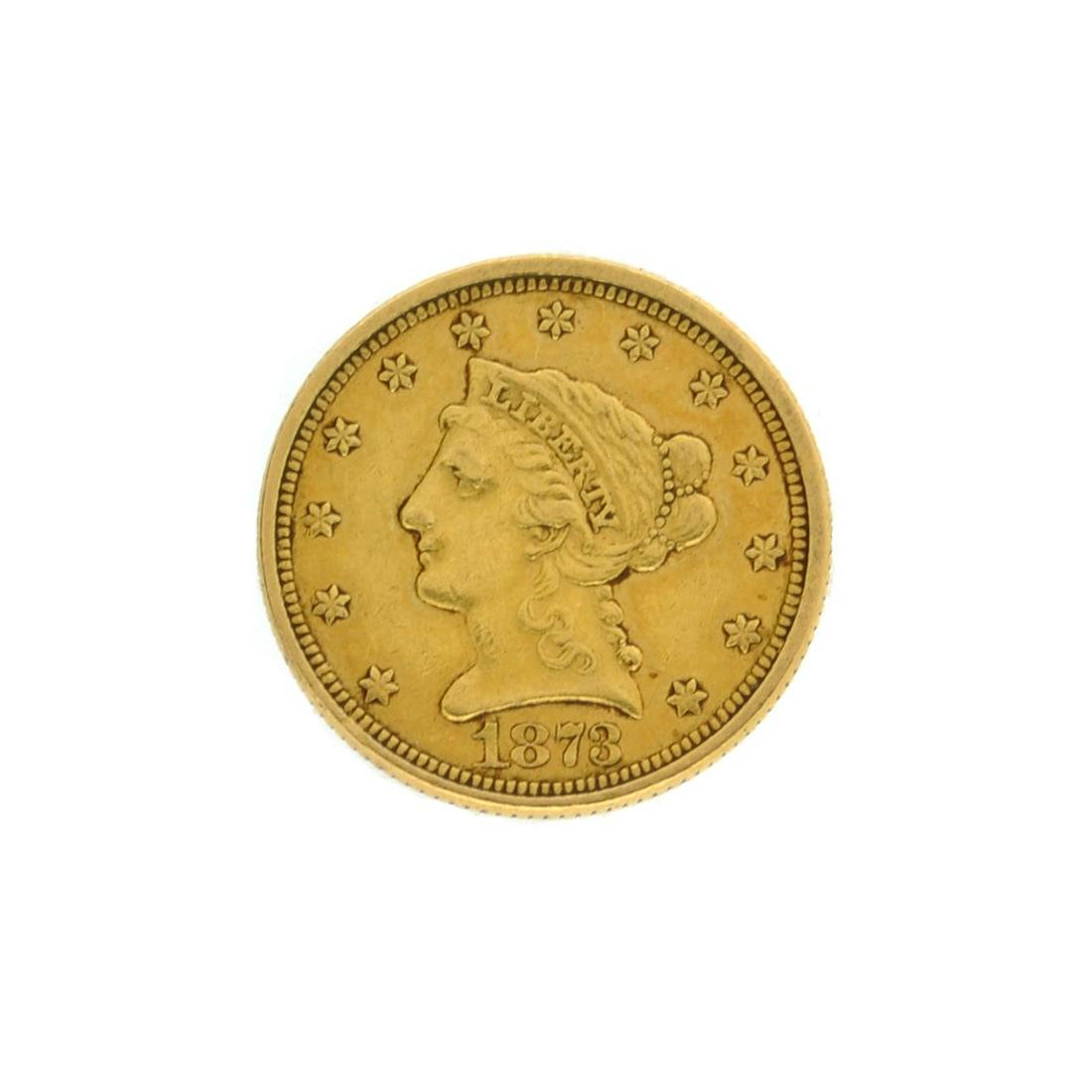 Extremely Rare 1873 $2.50 U.S. Liberty Head Gold Coin
