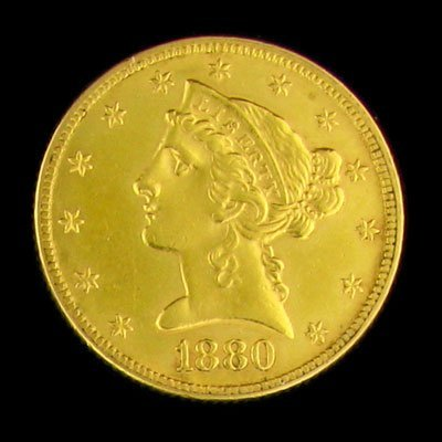 5: 1880 $5 US Liberty Head Type Gold Coin - Investment