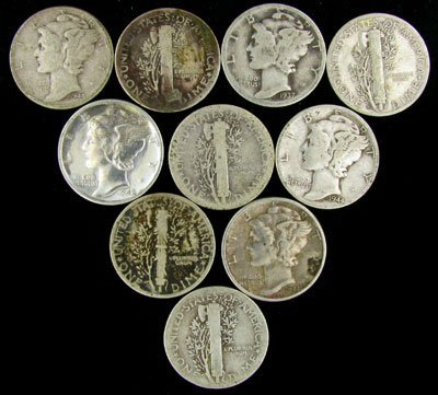 51: 10 Misc. Mercury Dime Coin - Investment Potential