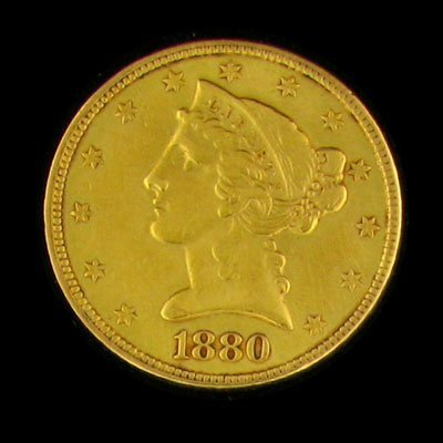 21: 1880 $5 US Liberty Head Type Gold Coin - Investment