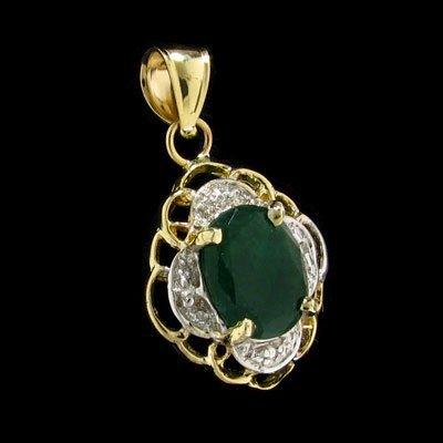 23: APP: $2k 14 kt. Gold, 1.65CT Emerald and Diamond Pe