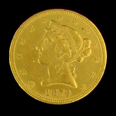 29: 1879 $5 US Liberty Head Type Gold Coin - Investment