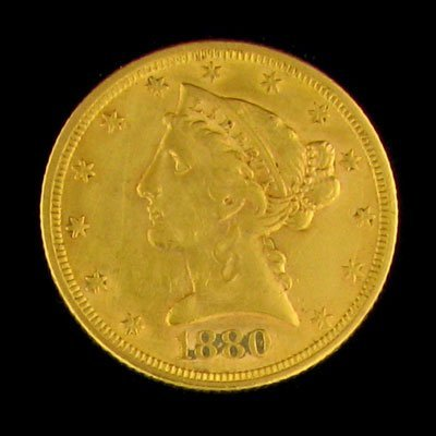 45: 1880 $5 US Liberty Head Type Gold Coin - Investment