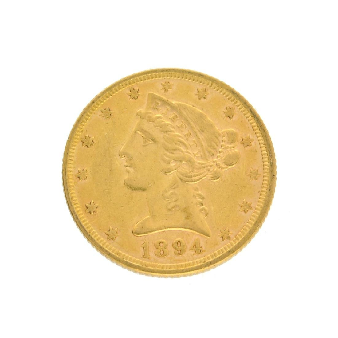 Extremely Rare 1894 $5 U.S. Liberty Head Gold Coin
