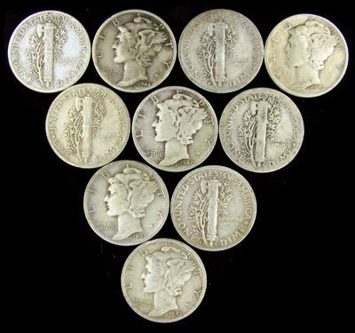 310: 10 Misc, Mercury Dime Coin-Investment Potential