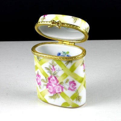 324: Yellow Oval Hinged Ceramic Box-Collect