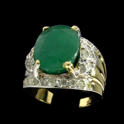 27: APP: $15.9k 14 kt. Gold, 7.40CT Emerald and 0.42CT