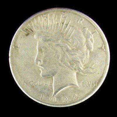 314: 1922-S US Peace Type Silver Dollar Coin - Investme