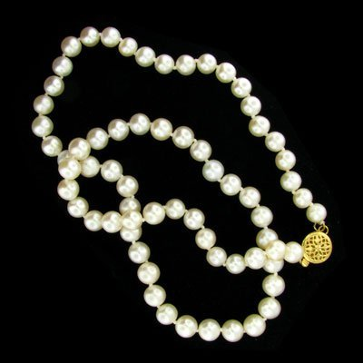 328: 14 kt. Gold, Pearl Necklace-Mother's Day Gift!