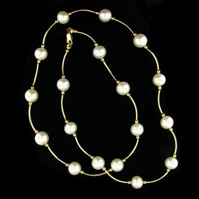 340: 14 kt. Gold, Pearl Necklace-Mother's Day Gift!