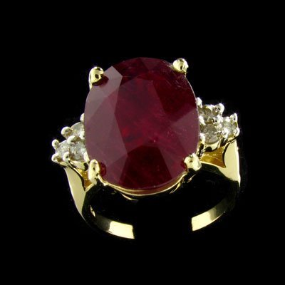 1542: APP: $60.8k 14 kt. Gold, 10.10CT Ruby and 0.24CT