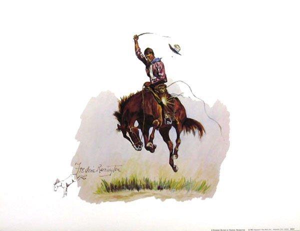 2327: FREDERIC REMINGTON A Running Bucker, Print - Coll