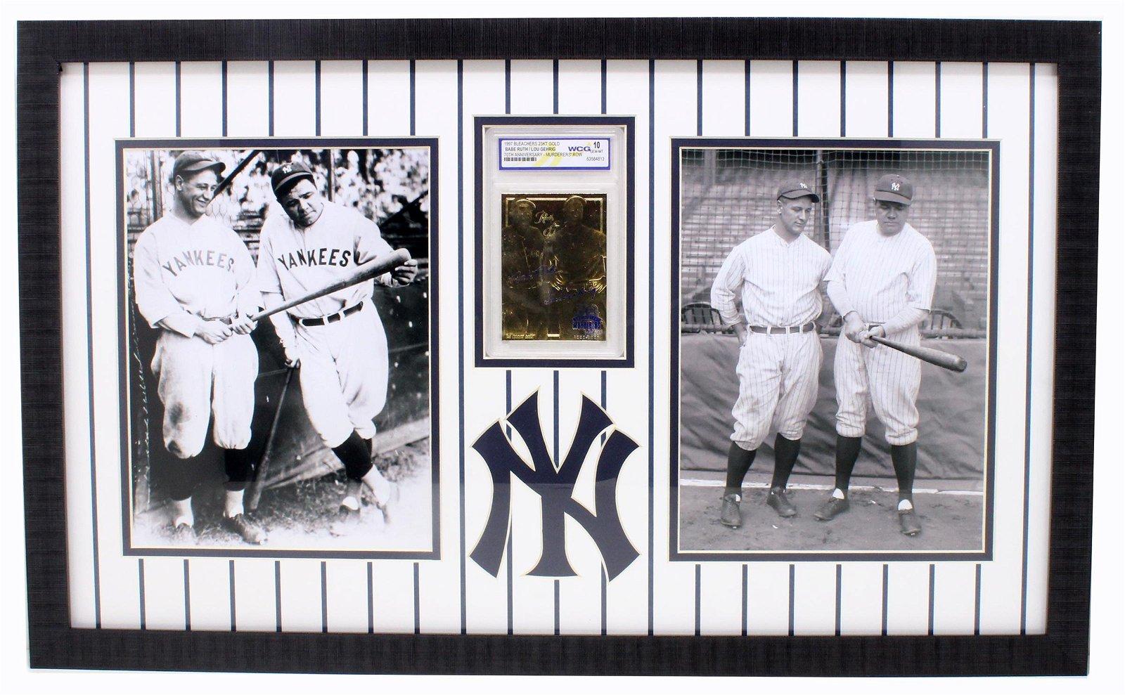 Rare Ruth / Gehrig 23kt. Gold Anniversary Baseball Card