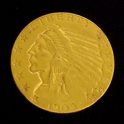 111: 1909 $5 Indian Head Gold Coin - Potential Investme