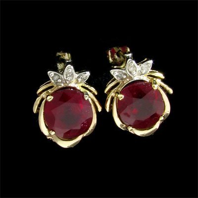 139: APP: $14k 14 kt. Gold, 6.58CT Ruby and Diamond Ear