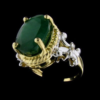 9: APP: $13k 14 kt. Gold, 7.42CT Emerald and Diamond Ri