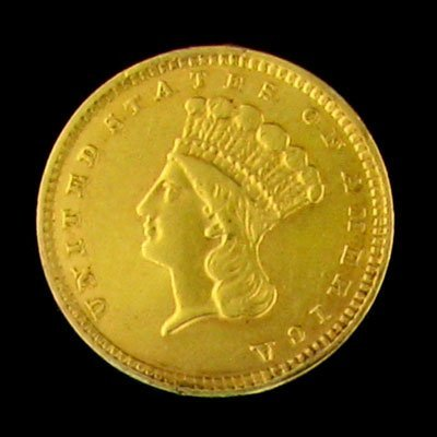 27: 1857 $1 US Indian Type Gold Coin - Investment Poten