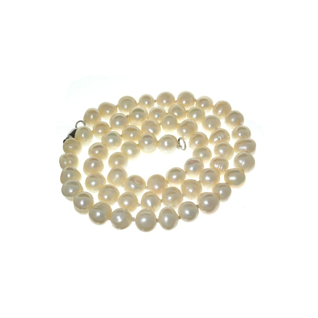 Gorgeous 18'' Off White Pearl Strand with Sterling