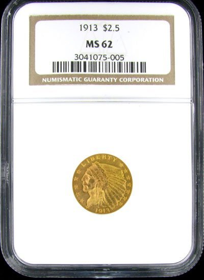 1810: 1913 $2.5 US Indian Type Gold Coin - Investment P